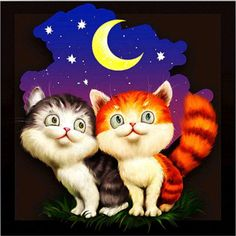 diy diamond Painting Cross Stitch kits Diamond Embroidery Two cute cats picture Mosaic pattern cartoon kids for gfit Funny Good Night Pictures, Good Night Funny, Good Night Wishes, Good Night Moon, Good Night Quotes, Cross Paintings, Animal Paintings, Cross Stitch Kits, Cross Stitch Embroidery