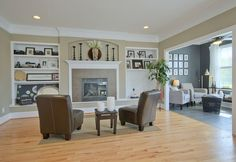 Gas fireplace with built-ins and double crown molding