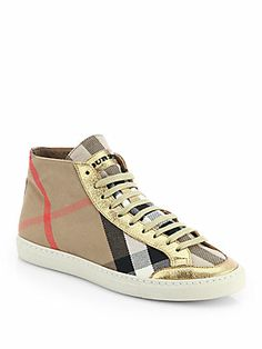 Burberry Montfords Metallic Leather-Trimmed Check Sneakers