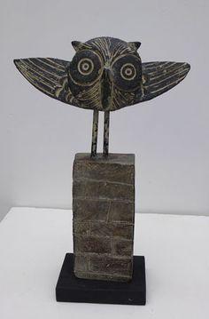 """""""Owl"""" by John Maltby Ceramic Birds, Ceramic Animals, Ceramic Pottery, Pottery Art, Slab Pottery, Pottery Studio, Pottery Sculpture, Bird Sculpture, Owl Art"""