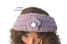 Head band mauve, snood, tour de cou violet, au crochet fait main