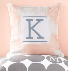 Monogram pillows and perfectly pink colors. Browse a collection of home decor items at Tiny Prints.