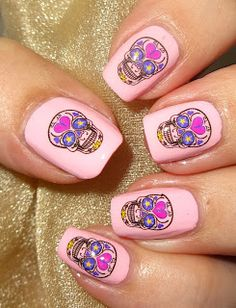 Wendy's Delights: Sugar Skulls Water Decals from Sparkly Nails @sparklynails #sugarskulls #dayofthedeal #nailart #waterdecals