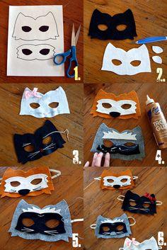 Kitty, Raccoon, Fox Felt Animal Mask Pattern - Sabrina Alery - The Odd Girl Hop (2)