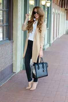 Grey And Camel Outfit Idea Grau und Kamel Outfit Idee Casual Work Outfits, Mode Outfits, Office Outfits, Work Attire, Work Casual, Casual Chic, Fall Outfits, Casual Outfits, Fashion Outfits