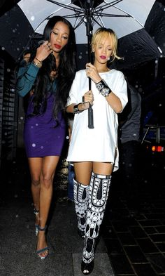 Rihanna in Tom Ford boots out in London