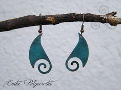 Pendientes de cobre con pátina turquesa por EvitaPulgarcita en Etsy