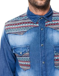 DENIM SHIRT WITH ETHNIC PATTERN YOKE - Shirts - Man - New collection - ZARA