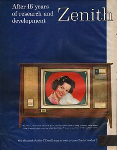 """1961 ZENITH TELEVISION vintage magazine advertisement """"16 years of research"""" ~ After 16 years of research and development Zenith quality comes to color TV - The Bellevue, Model 6040 with Zenith Space Command remote control TV tuning. Distinctive ..."""