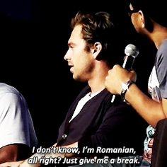 ''I don't know, I'm Romanian, all right? Give me a break.'' BAHAHAHA, SEB!! / Sebastian Stan ♥