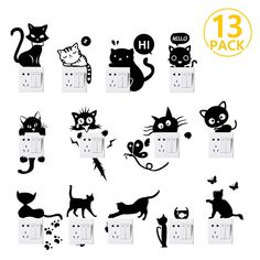 Foonii 13 PCS Autocollant mural, Sticker interrupteur PVC Créatif Imperméable Amovible Décorations Stickers Muraux Art Mural Wall Sticker, Mignon Humoristique Mode (Noir): Amazon.fr: Gateway