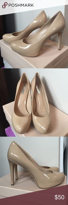 BCBG nude heels size 7.5 Barely worn, nude patent BCBGeneration high heels, in EUC - worn maybe 5 times. Size 7.5, heel is approx 4.5 inches with small platform in front (very comfortable). The nude is a medium tan and very flattering shade! BCBGeneration Shoes Heels