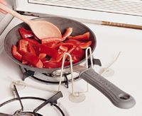 Pot and Pan Holder....Prevents a pot or pan from turning while stirring with one hand.....One-handed use for anyone with limited had use or seniors with limited hand dexterity and hand strength loss. Useful kitchen safety product