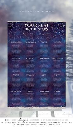 Galaxy Seating Chart, Celestial Seating Chart, Starry Night Wedding Seating Chart, Constellation Seating Chart Plan, Blue Purple Silver Astronomy Wedding Seating Chart – Soumya's Designs