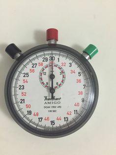 Vtg German Hanhart Amigo Stopwatch DGM 1902 490 1/10 Sec Works Perfect