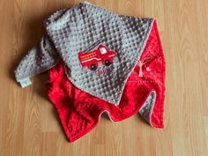 Fire Truck Personalize Minky Baby Blanket - Tractor Applique - Choice of Colors by LullabyGardens on Etsy