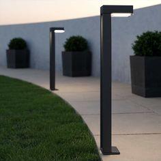 Contemporary Garden, Contemporary Design, Modern Post Lights, Garden Inspiration, Garden Ideas, Solar Post Lights, White Bedroom Design, Solar Power, Outdoor Lighting