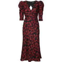 Saloni Colette Floral V-Neck Dress (9.122.620 IDR) ❤ liked on Polyvore featuring dresses, kirna zabete, kz red, kzloves /, cutout dresses, red cut-out dresses, silk dress, floral printed dress and v neckline dress