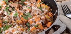 Minus the cheese, use Coconut oil and this would be healthy! Turkey Sweet Potato Skillet | Ground Turkey Sweet Potato Skillet
