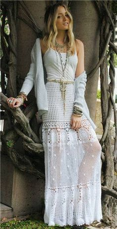 White lace maxi skirt with oversize cardigan