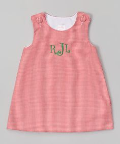 Look at this Lollypop Kids Clothing Red Gingham Personalized Jumper - Infant