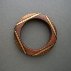 Vintage wood and brass bangle