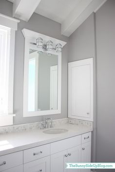 """The counter is quartz (Caeserstone) called """"Organic White.""""  I used Organic White in the girls' bathroom, on my kitchen islands and in my office.  We ended up using quartz everywhere throughout the house except in the bathrooms that have marble.  Quartz is great if you want a clean look that won't scratch or stain and I have to say I am loving these counters!"""