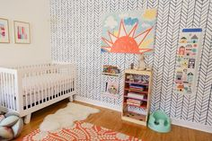Office Turned Fresh & Cheery Nursery - apartmenttherapy - - - if like this room without the pink & with the Baby Mod Marley crib in Walnut - http://m.samsclub.com/ip/babymod-marley-3-in-1-convertible-crib-walnut/prod14810059