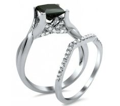 2.10ct Black Princess Cut Diamond Engagement Ring Bridal Set 18k White Gold