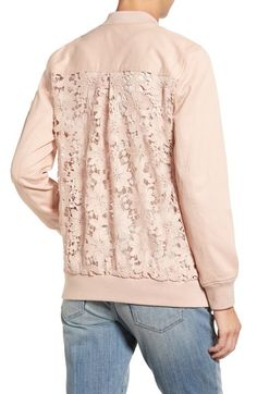 Chelsea28 Lace Back Bomber Jacket available at #Nordstrom