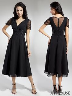 Make an unforgettable statement in this elegant black mother of the bride dress. #jjshouse #motherdress #dress