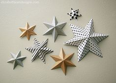 Festive Six Point Paper StarsFestive Six Point Paper Stars, great for Christmas or even in a nursery!