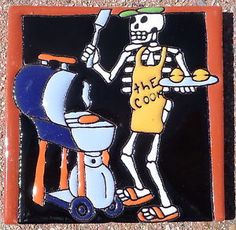 1 Mexican Hi Relief Talavera Tile 4 034 Day of The Dead Man BBQ ...