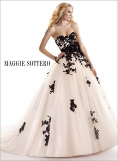 """Maggie Sottero """"Cosette"""" bridal gown, shown in black & ivory."""