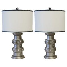 Check out this item at One Kings Lane! 19th-C. Carriage Wheel Hub Lamps, Pair