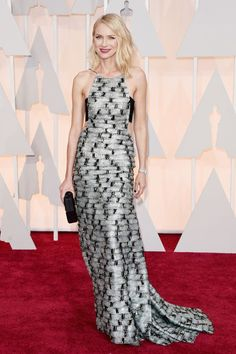 The Birdman actress stands out on the red carpet in this contrast print gown by Armani Privé.