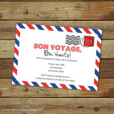 custom bon voyage party invitation  goodbye by saralukecreative, $16.00