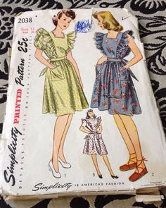 1940s SIMPLICITY 2038-LADIES RUFFLED APRON PINAFORE & DRESS PATTERN in Crafts | eBay