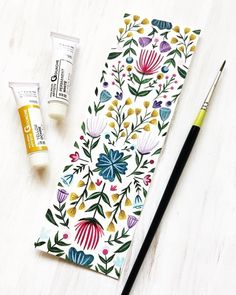 I have this lovely flower bookmark in Gouache and Aquarel last week . - I have painted this lovely flower bookmark in gouache and watercolor last week, - painting illustration Watercolour Painting, Watercolor Flowers, Painting & Drawing, Watercolor Bookmarks, Art Flowers, How To Watercolor, Paper Bookmarks, Drawing Flowers, Watercolor Pattern