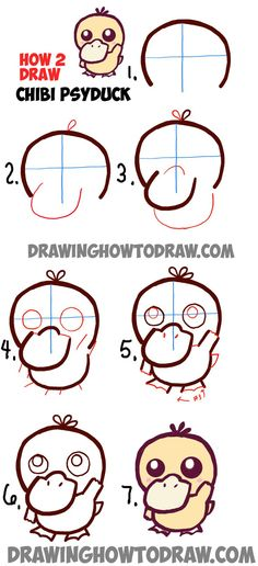 baby drawing Learn How to Draw a Cute Baby Chibi Psyduck from Pokemon in Step by Step Drawing Tutorial Kawaii Drawings, Doodle Drawings, Cartoon Drawings, Cute Drawings, Easy Pokemon Drawings, Baby Drawing, Drawing For Kids, Painting & Drawing, Learn Drawing