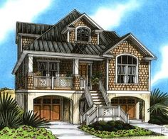 Plan RC  Beach Home Plan Perfection   Cottages  Vacation    Beach house plan for narrow lot  With elevator and possible extra bedroom down
