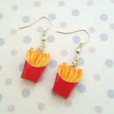 Miniature French Fries Earring with Silver Plated or Sterling Silver your choice Diy Clay Earrings, Funky Earrings, Unique Earrings, Weird Jewelry, Funky Jewelry, Cute Jewelry, Polymer Clay Charms, Polymer Clay Jewelry, Accesorios Casual