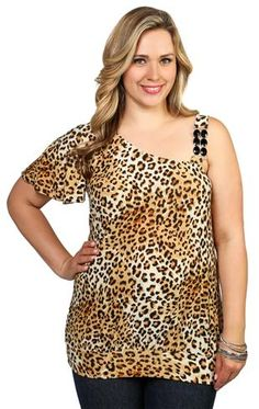 plus size one shoulder top with all over cheetah print and stone trim
