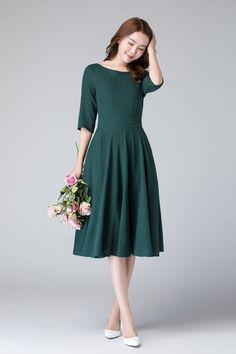 Leinen Sommerkleid MIDI-Kleid Leinen Kleid Damenkleid | Etsy