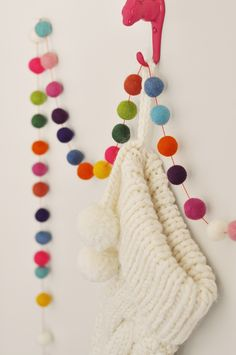 Handmade Felt Ball Garland for Christmas