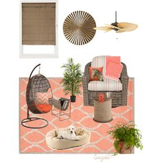 Indoor Sun Room by suzie-v on Polyvore featuring interior, interiors, interior design, home, home decor, interior decorating, Pine Cone Hill, Lane Venture, Nearly Natural and Fanimation