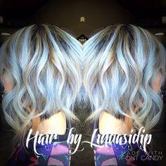 Lilac silver baby blue balayage