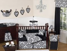 Black and White Isabella Girls Baby Bedding - 9 pc Crib Set... Would be perfect for my alice and wonderland nursery idea.