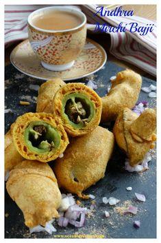 Andhra mirapakaya bajji Indian Snacks, Indian Food Recipes, Ethnic Recipes, Street Food, Roast, Chicken, Business, Roasts, Indian Recipes