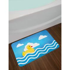 East Urban Home Rubber Duck Cute Children's Toy Figure on Wavy Water Inspired Stripes Clouds Non-Slip Plush Bath Rug Duck Bathroom, Bath Mat Sets, Fine Linens, Bath Rugs, Rubber Duck, Amazing Bathrooms, Plush, Stripes, Toy